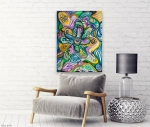 wall with multicolored abstract cmposition design canvas