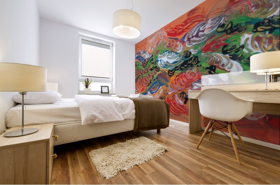 adhesive mural print with abstract orange color on bedroom wall