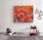 wood print with orange pink flower image