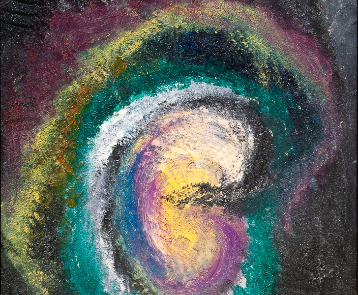 White, yellow, pink, black, blue, green, purple, light blue and lilac tones abstract outset of life like symbolic image in rough texture with rounded concentric shapes and nuances.