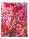 iPad case with abstract floral suggestion pattern in pink and fuchsia shades with light blue, yellow, orange, white, green and purple colors