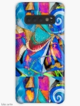 samsung galaxy case skin with abstract bright dynamic pattern of geometric and round shapes and curls, in tones of blue, fuchsia, orange, white, black, light green and yellow