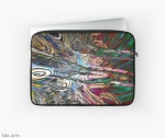laptop sleeve with abstract fluid energetic flow design with concentric shapes in tones of white, brown, pink, light blue, green and black