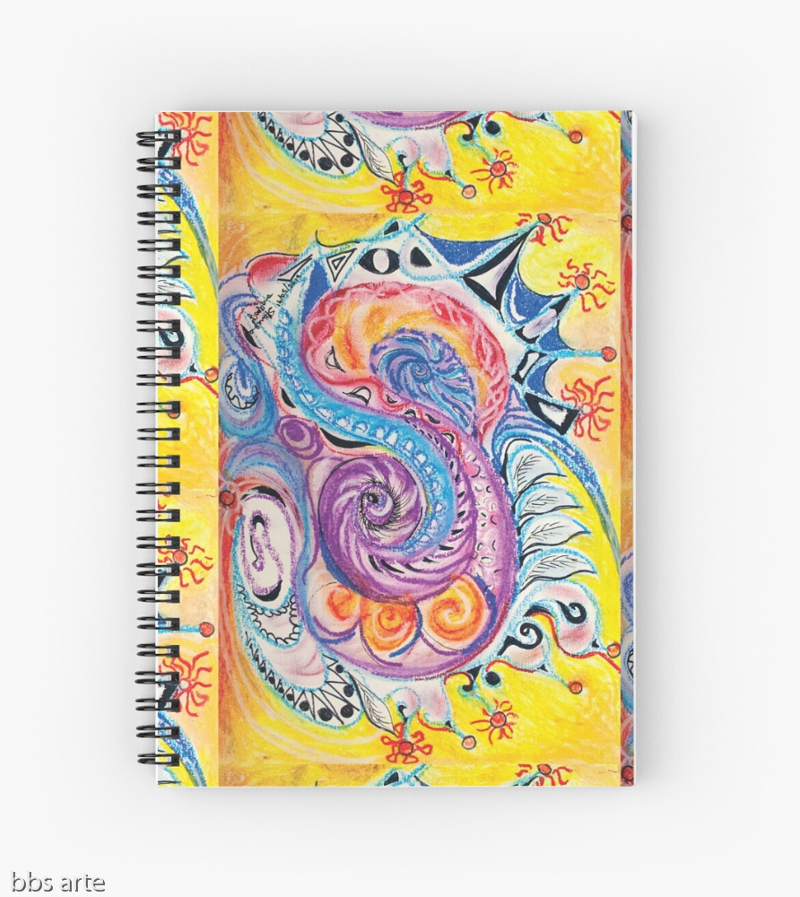 spiral notebook with bright multicolored abstract design in red, white, orange, pink, black, blue, light blue and purple tones with circles and concentric shapes, on yellow background, with nuances